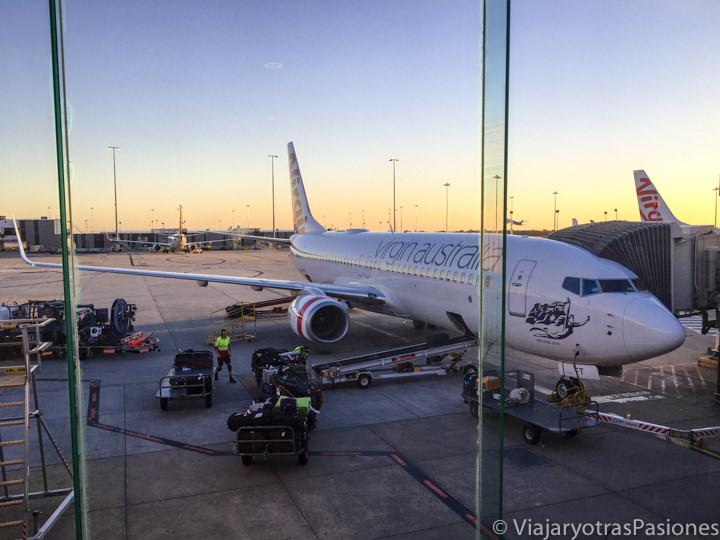 Atardecer el el aeropuerto de Melbourne, en Australia