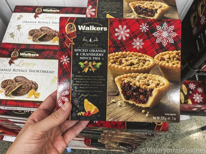 Típicos Mince Pies de Navidad en un supermercado de Australia