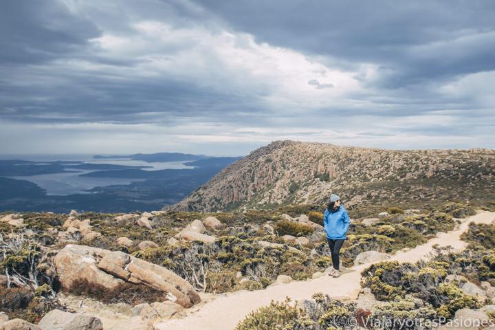 Vista de uno de los senderos en la cima de Mount Wellington, Tasmania