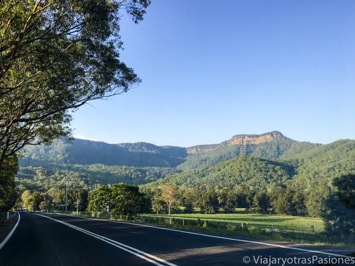 Panorama de la carretera cerca de Kangaroo Valley para ir de Sydney a Melbourne, Australia