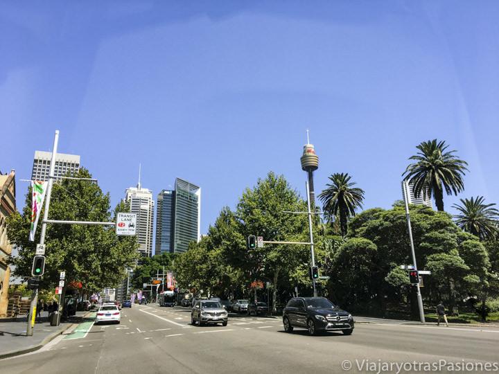 Típica carretera en el centro de Sydney, Australia