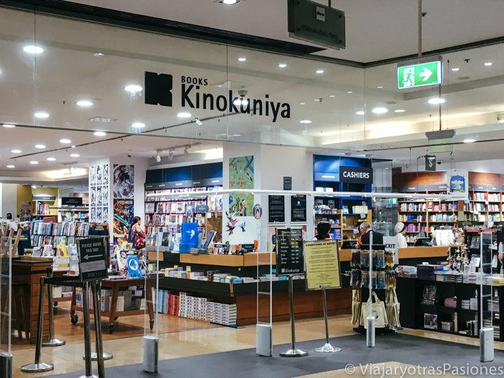 Entrada de la famosa librería Kinokuniya en el centro de Sydney, Australia