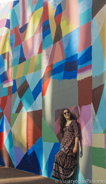Frente a los graffiti de Grand Lane en Western Australia en Perth en un día