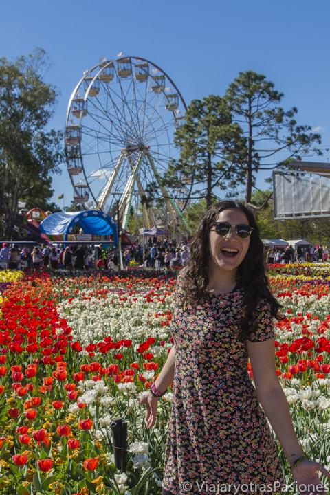 Alegría en el festival Floriade en la ciudad capital de Canberra en Australia