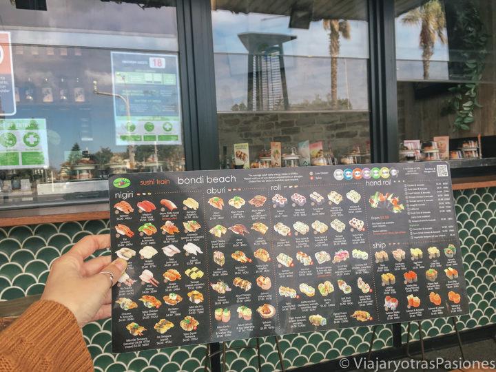 Menu del restaurante Sushi Train en Bondi Beach en Australia