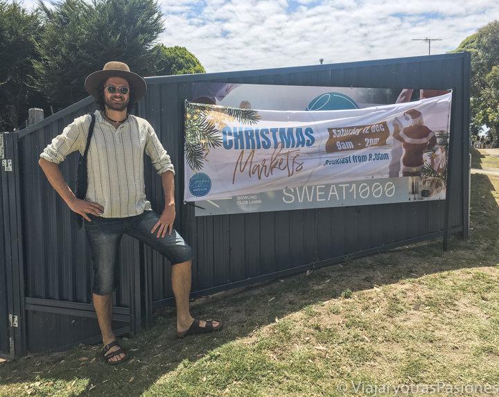 Entrada de un mercadillo de Navidad en Australia