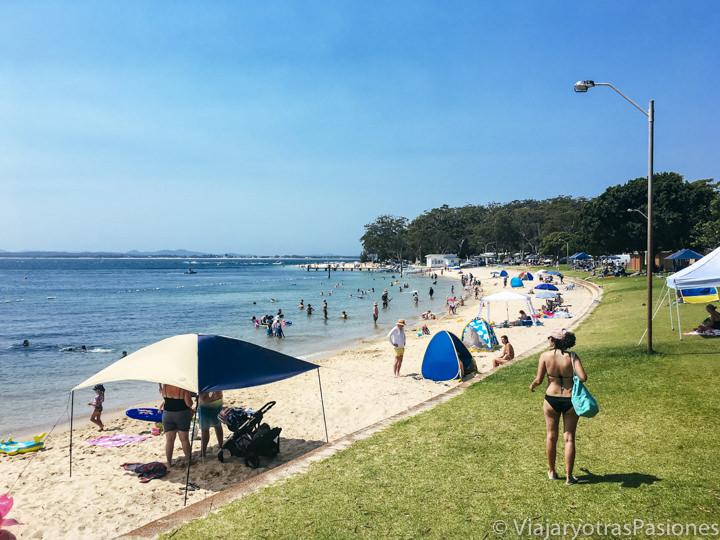 Maravillosa vista de la hermosa Little Beach en Port Stephens, Australia