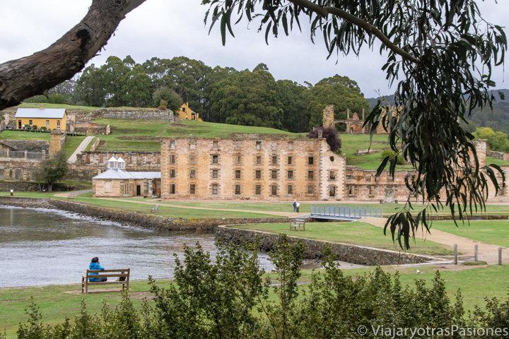 Panorama del histórico sitio de Port Arthur en Tasmania, Australia