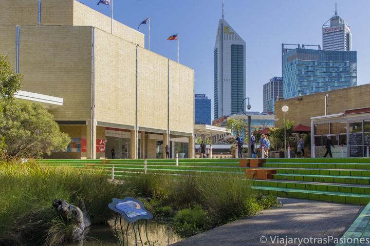 Vista panoramica del centro de Perth en un día en Western Australia