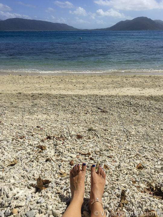 Hermosa playa de coral en la isla Fitzroy, cerca de Cairns en Queensland, Australia