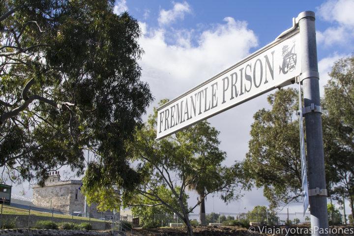 Típico señal cerca de la prisión en qué ver en Fremantle en Perth Western Australia