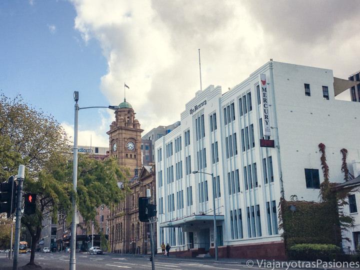 Fachada de antiguos edificios en el centro de Hobart, en Australia