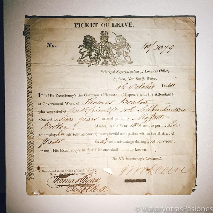 Imagen de un Ticket of Leave en el museo del Hyde Park Barracks en Sydney
