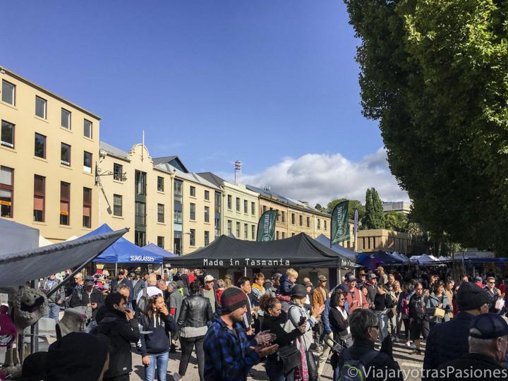 Panorama del famoso Salamanca Market en Hobart, en la isla de Tasmania