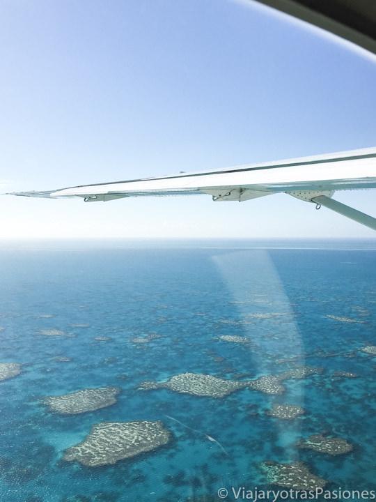Hermoso panorama que se puede ver sobrevolando la Gran Barrera de Coral, Australia